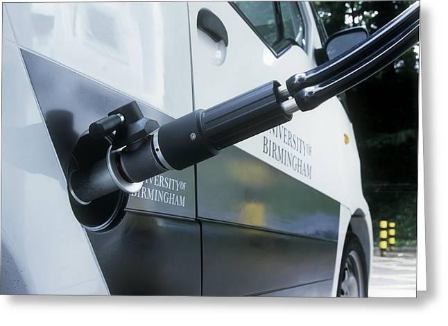 Hydrogen Fuel Cell Car Refuelling Greeting Card by Martin Bond