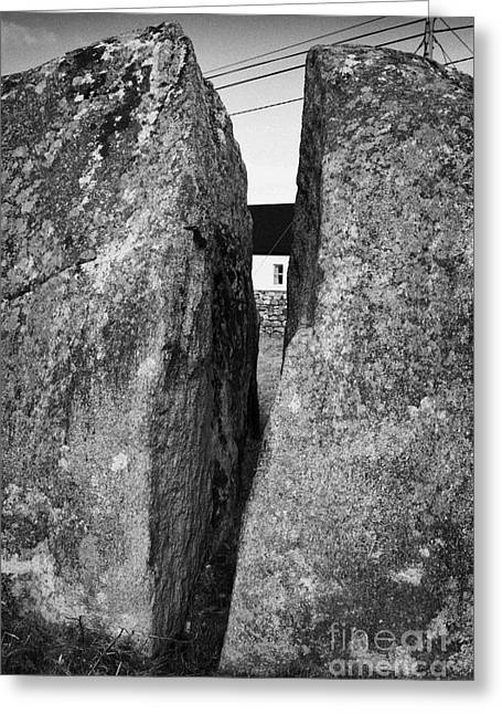 Ice Age Boulder Known As The Split Rock In Kileenduff Easkey County Sligo Republic Of Ireland Greeting Card