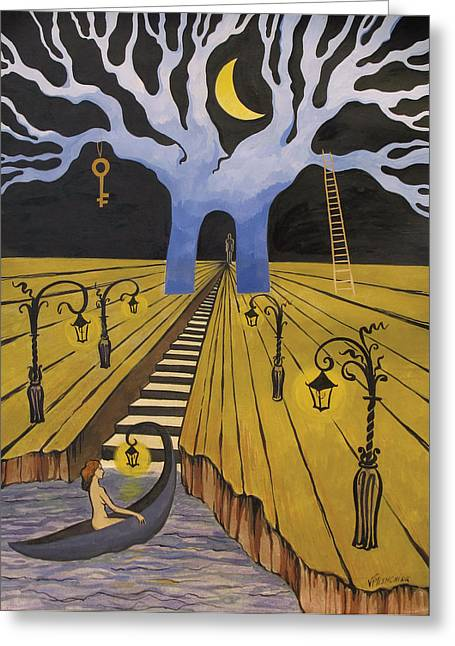 In The Maze Of Strange Dreams Greeting Card