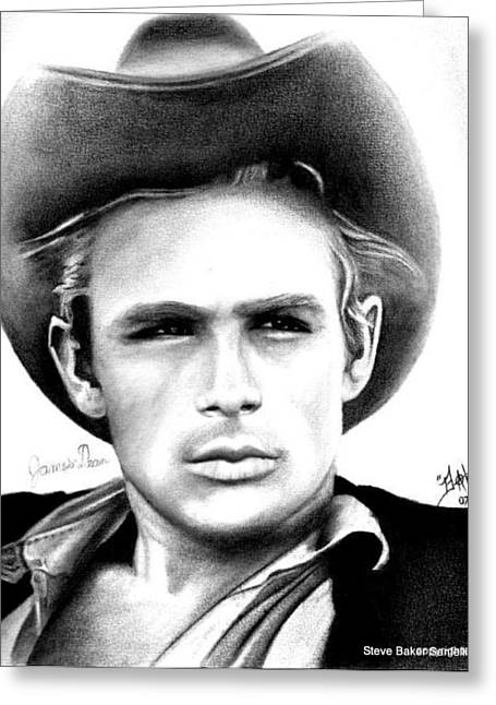James Dean Greeting Card by Celebrity Portrait Art by Steve Baker Sanfellipo