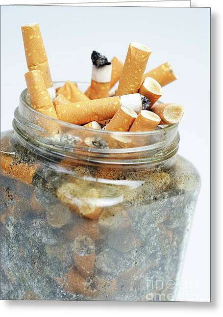 Jar Overflowing With Cigarette Butts Greeting Card by Sami Sarkis