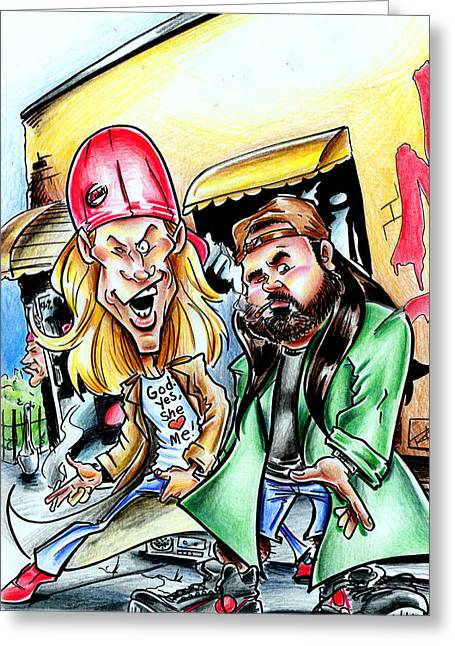 Jay And Silent Bob Greeting Card by Big Mike Roate