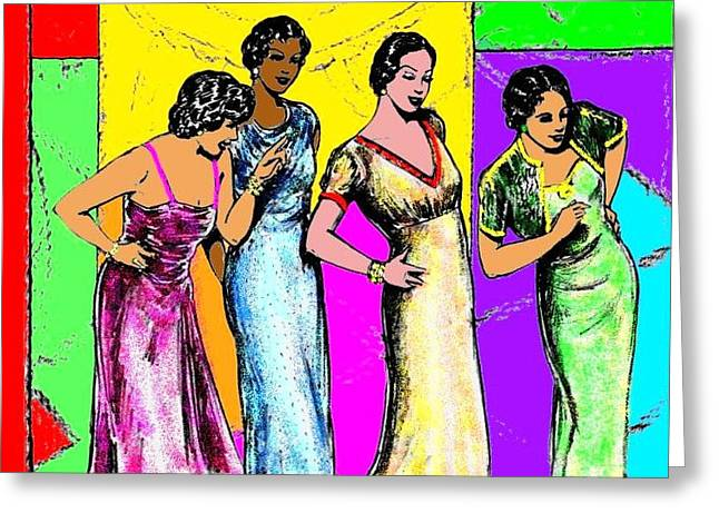 Jazzy Ladies Greeting Card by Mel Thompson