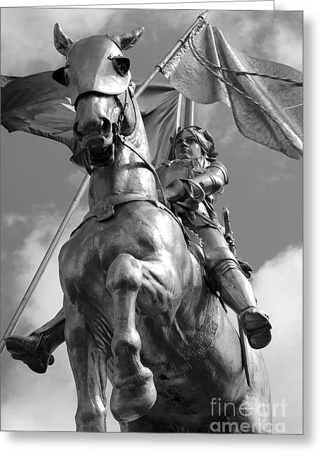 Joan Of Arc Statue French Quarter New Orleans Black And White Greeting Card by Shawn O'Brien