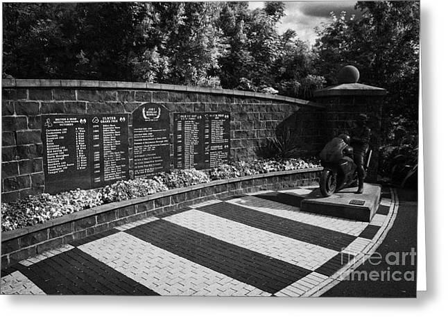 Joey Dunlop Memorial Garden In Ballymoney County Antrim Northern Ireland Greeting Card by Joe Fox