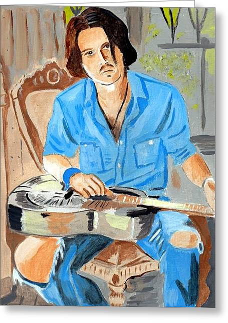 Greeting Card featuring the painting Johnny Depp 2 by Audrey Pollitt