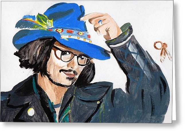 Greeting Card featuring the painting Johnny Depp 3 by Audrey Pollitt