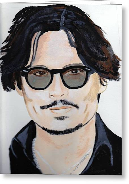Greeting Card featuring the painting Johnny Depp 4 by Audrey Pollitt