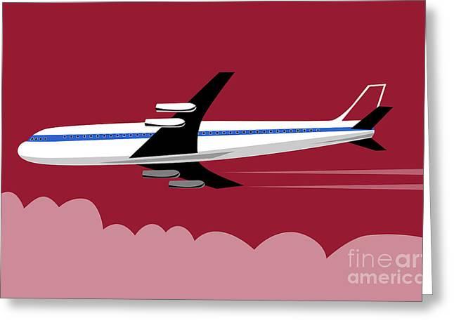 Jumbo Jet Plane Retro Greeting Card by Aloysius Patrimonio