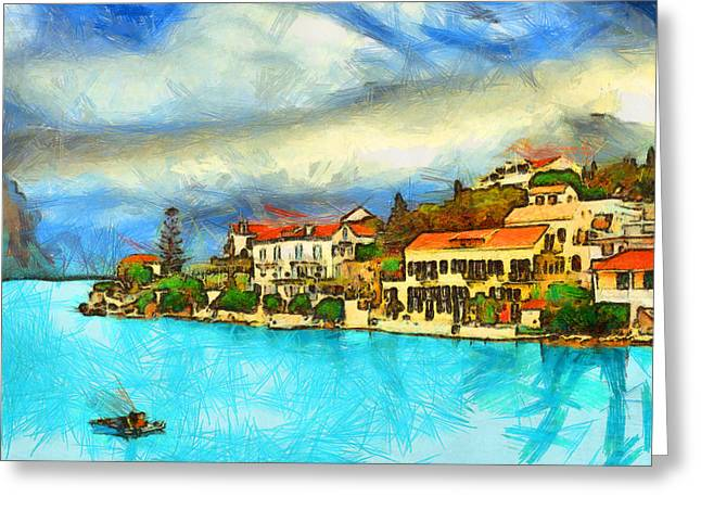 Kefalonia Fiscardo Greeting Card by George Rossidis