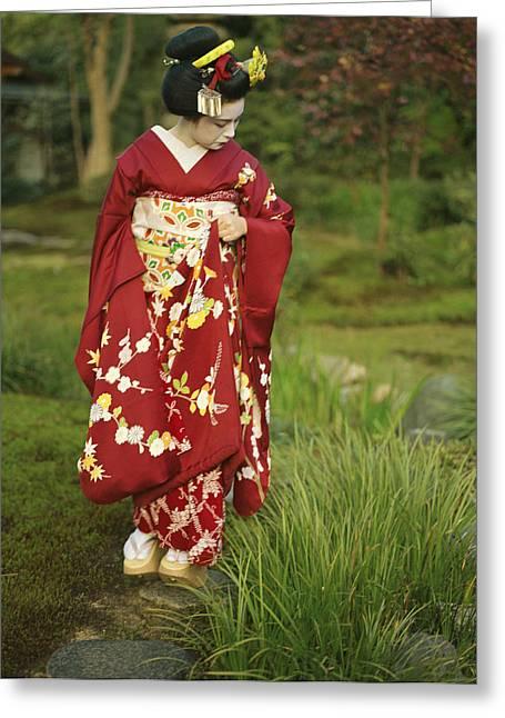 Kimono-clad Geisha In A Park Greeting Card