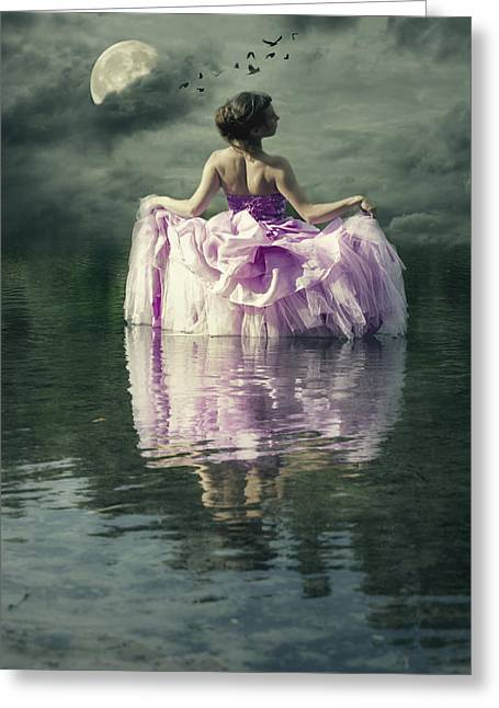 Lady In The Lake Greeting Card by Joana Kruse