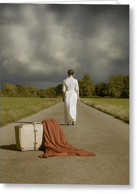 Lady On The Road Greeting Card by Joana Kruse