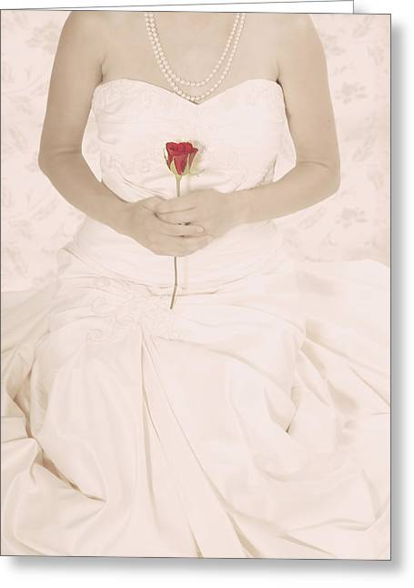 Lady With A Rose Greeting Card