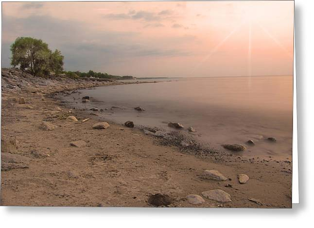 Lake Erie Sunset Greeting Card by Cindy Haggerty