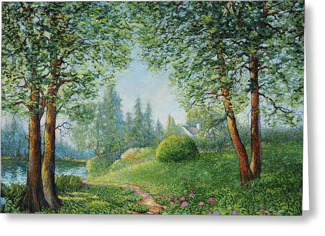 Greeting Card featuring the painting Lake Steilacoom by Charles Munn