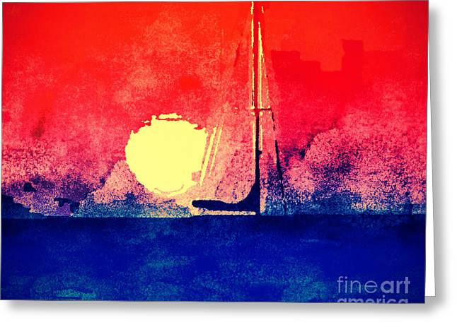 Last Boat Leaving Greeting Card by Christine Segalas