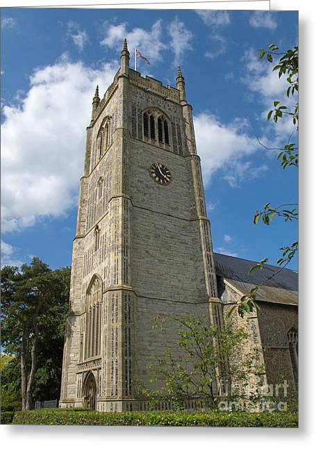 Laxfield Church Tower Greeting Card by Ann Horn