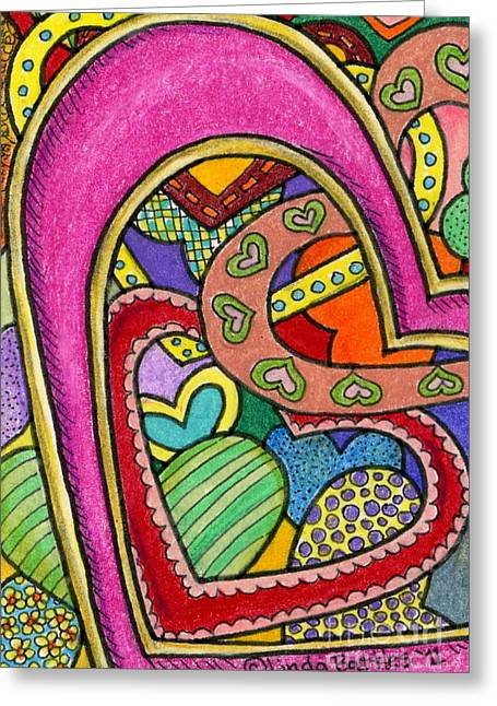 Layers Of Love Greeting Card by Linda Battles