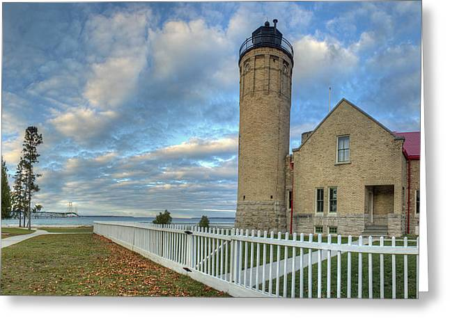 Lighthouse At Mackinac Greeting Card by Twenty Two North Photography