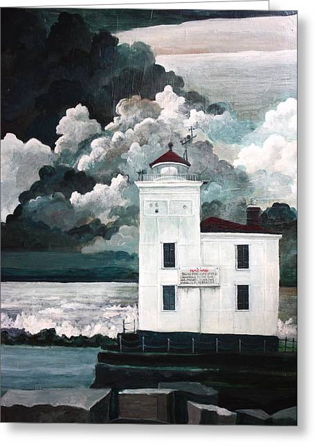 Lighthouse At Mentor Headlands Greeting Card by MB Matthews