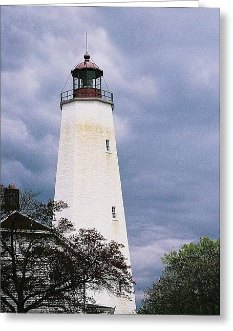 Lighthouse At Sandy Hook Greeting Card by William Walker