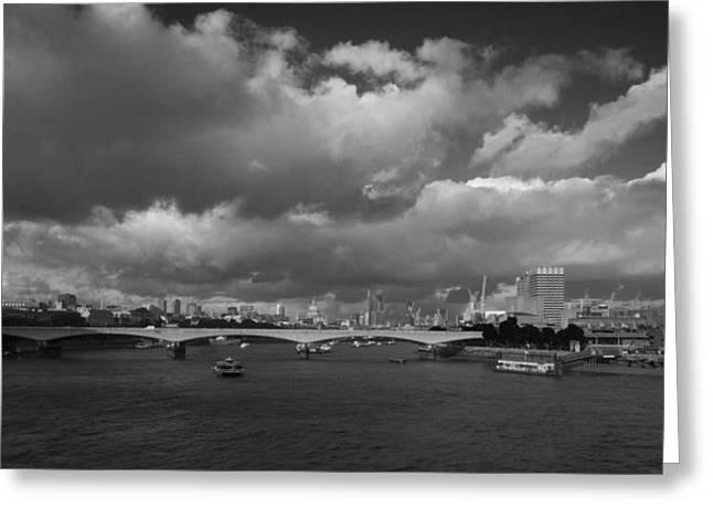 London  Skyline Waterloo  Bridge  Greeting Card by David French