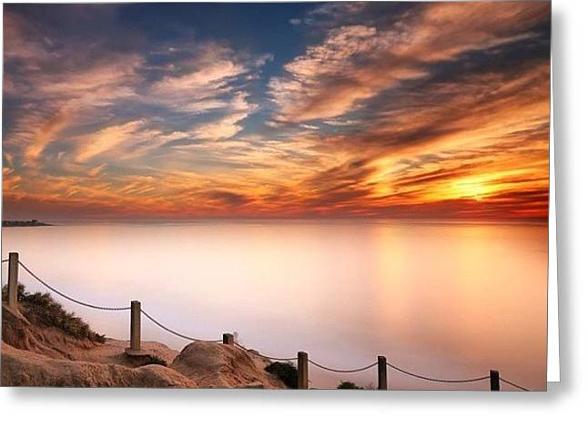 Long Exposure Of Last Night's Sunset Greeting Card by Larry Marshall