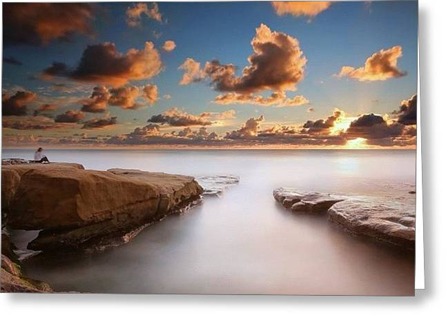 Long Exposure Sunset At A San Diego Greeting Card by Larry Marshall