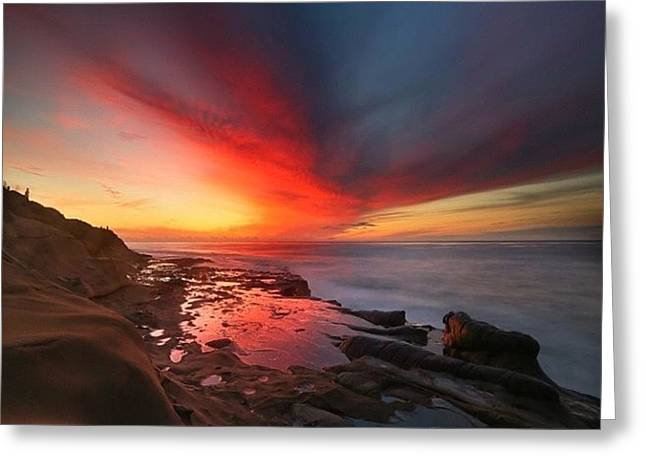 Long Exposure Sunset In La Jolla Greeting Card by Larry Marshall