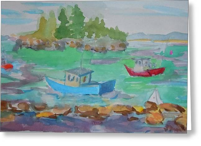 Lubec Lobster Boats Greeting Card by Francine Frank