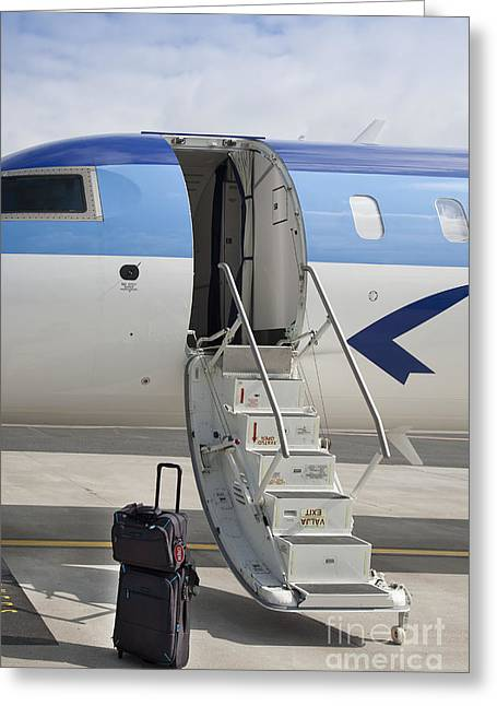 Luggage Near Airplane Steps Greeting Card by Jaak Nilson