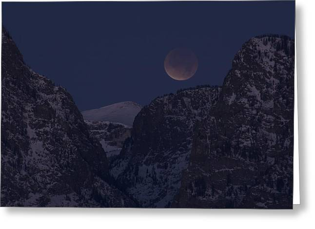 Lunar Eclipse Grand Teton National Park Greeting Card
