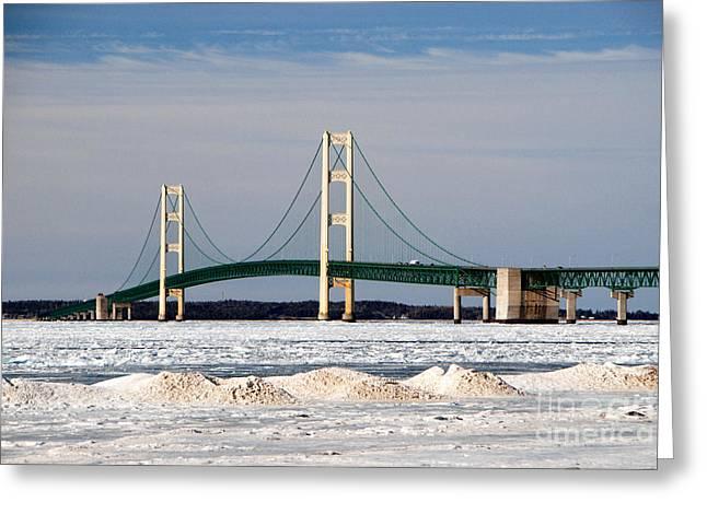 Mackinac Bridge In Winter Greeting Card
