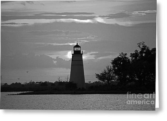 Greeting Card featuring the photograph Madisonville Lighthouse Sunset by Luana K Perez