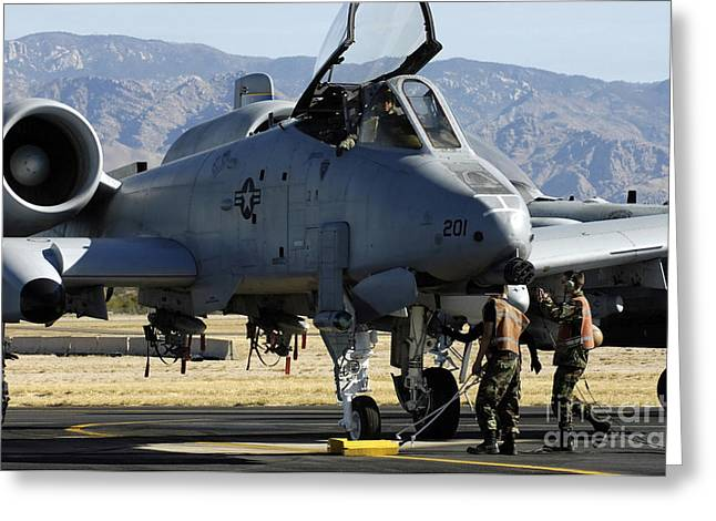 Maintainers Perform Pre-flight Greeting Card by Stocktrek Images