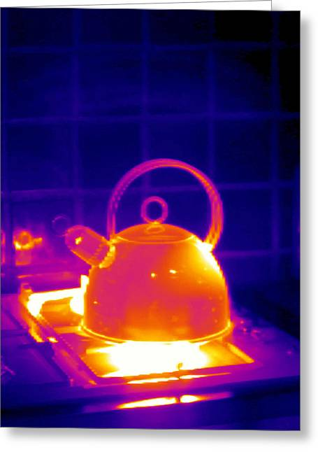 Making Tea, Thermogram Greeting Card by Tony Mcconnell