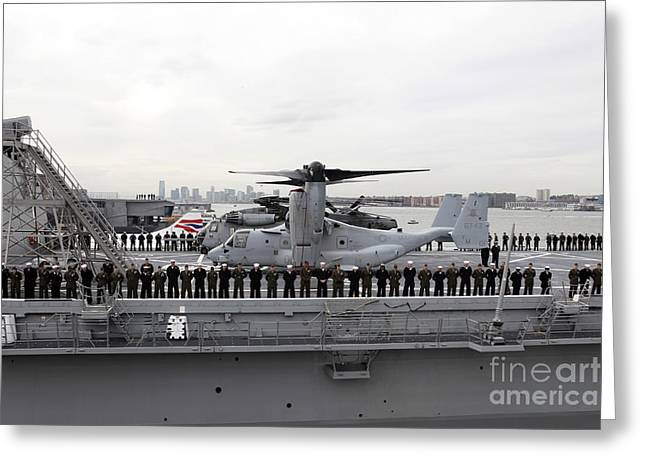 Marines And Sailors Man The Rails Greeting Card by Stocktrek Images