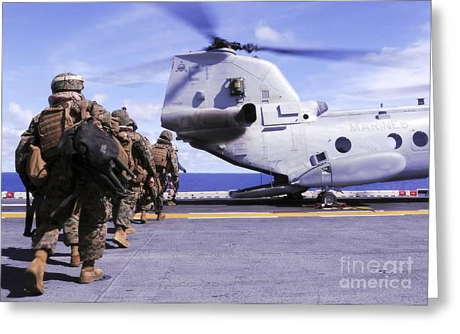 Marines Board A Ch-46e Sea Knight Greeting Card