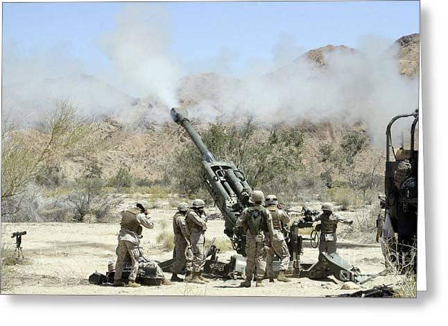 Marines Shoot 100-pound Rounds Greeting Card by Stocktrek Images