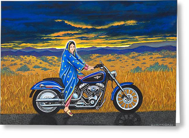 Mary And The Motorcycle Greeting Card