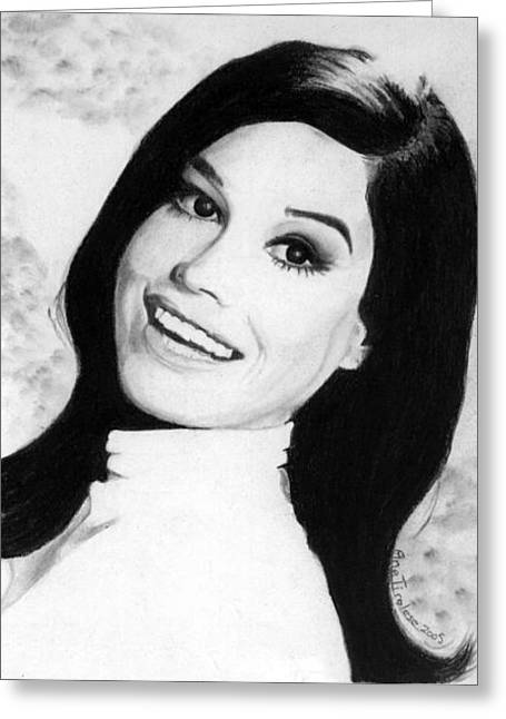 Greeting Card featuring the drawing Mary Tyler Moore Tribute by Ana Tirolese