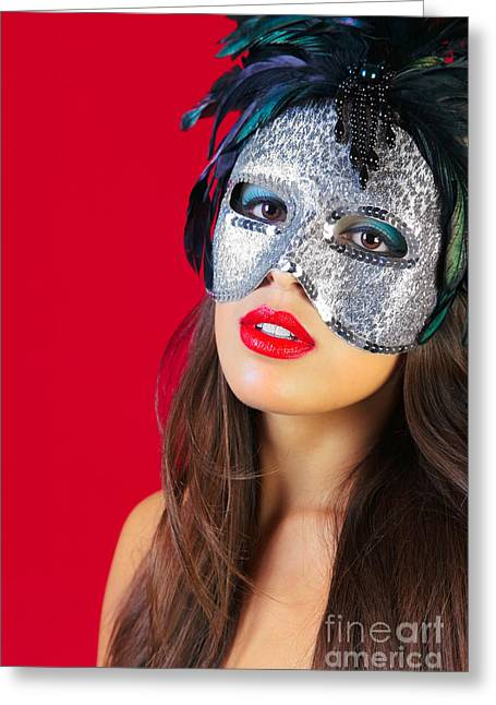 Masquerade Mask Red Background Greeting Card by Richard Thomas