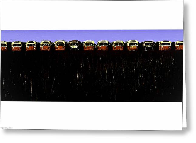 Mass Transit Greeting Card by Michael Nowotny