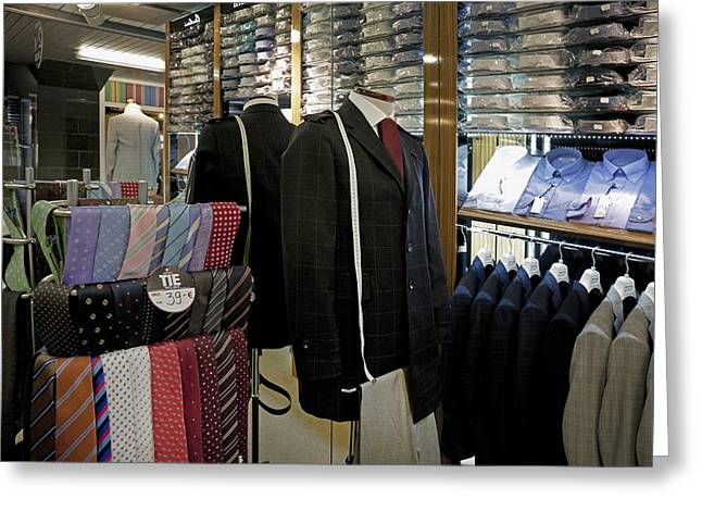Tallinn Greeting Cards - Menswear On Display At A Clothes Shop Greeting Card by Jaak Nilson