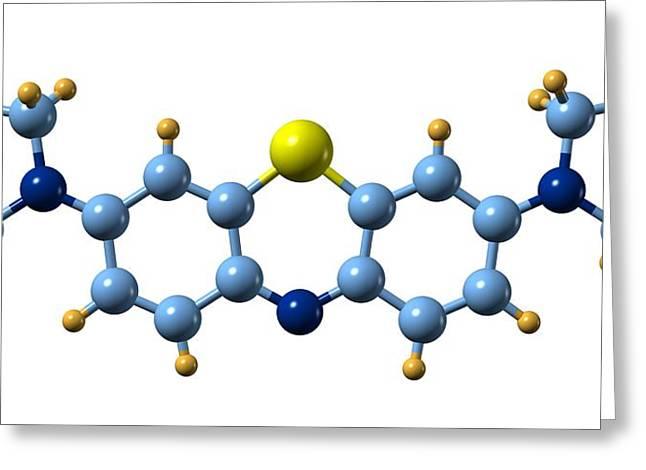 Methylene Blue, Molecular Model Greeting Card by Dr Mark J. Winter