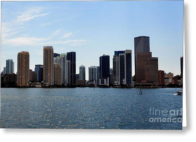 Greeting Card featuring the photograph Miami Skyline by Pravine Chester