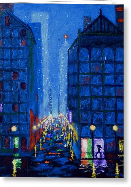 Midnight Drizzle Greeting Card by J Loren Reedy