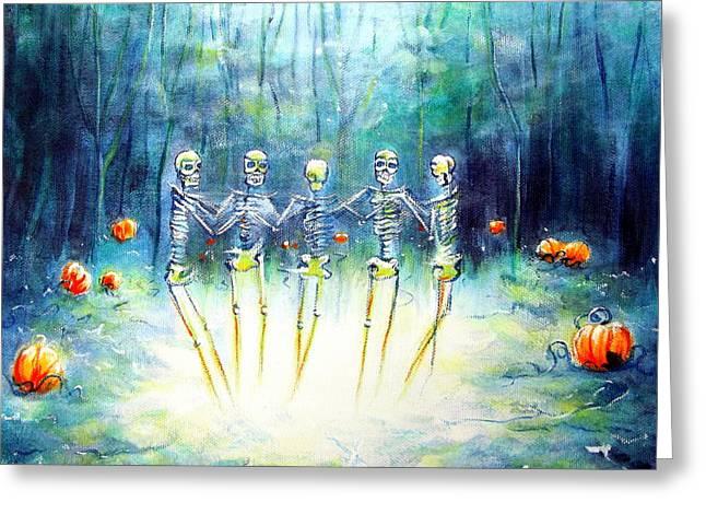Midnight Pumpkin Ring Greeting Card by Heather Calderon