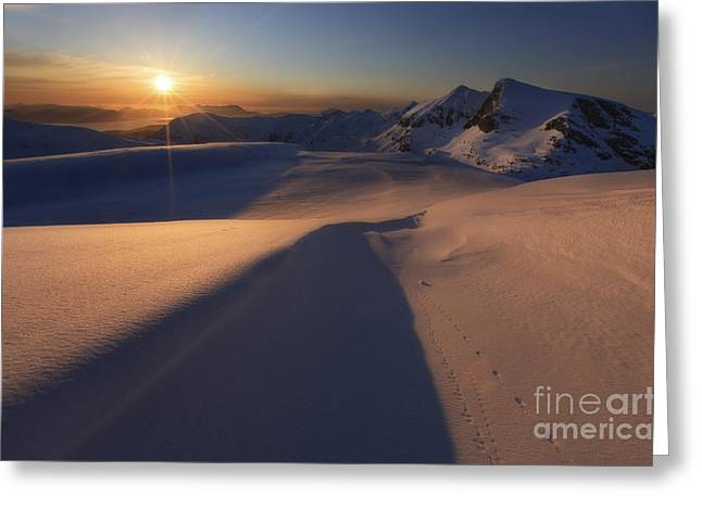 Midnight Sun Over Lilletinden Mountain Greeting Card